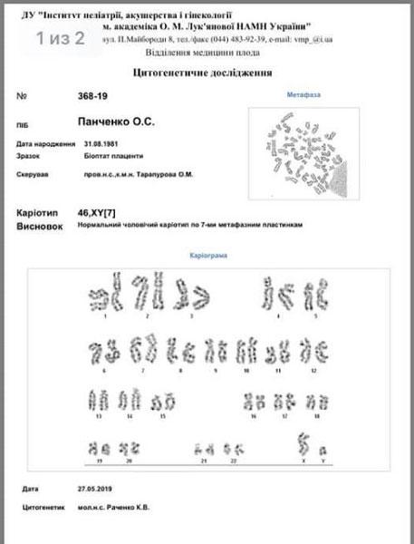 Анализ цитогенетического обследования в свидетельстве Елены. миниатюра